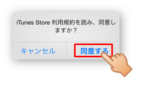 6. iTunes Store利用規約に [同意する] をタップ